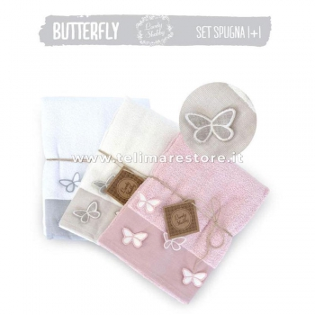 Set Asciugamani Bagno 1+1 in spugna - Modello Butterly - varietà colori