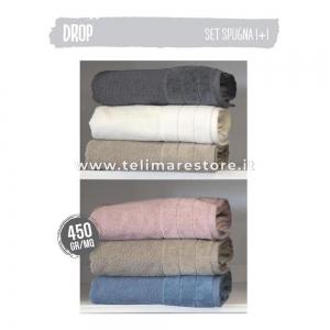 Set Asciugamani Bagno 1 viso + 1 ospite in spugna - Modello Drop - colori