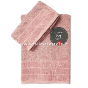 Set Asciugamani Bagno 1 viso + 1 ospite in spugna - Modello Drop - rosa cipria