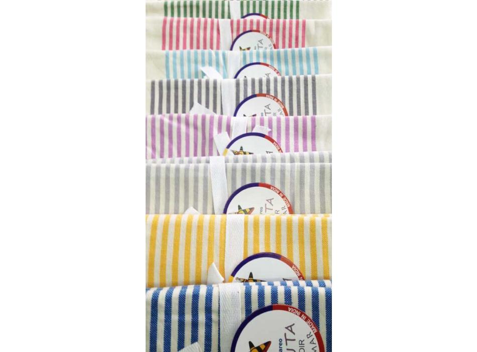 Telo Fouta Agadir a righe in cotone tessuto e colori