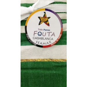 Telo Fouta Casablanca Verde a righe con il lamè in cotone