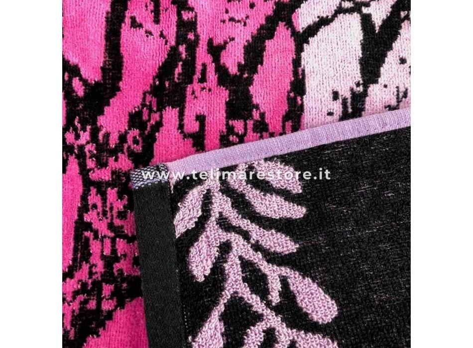 Telo Mare Fantasia Albero Fucsia Degradè 86x165cm Telo in Spugna 100% Cotone Asciugamano da Spiaggia