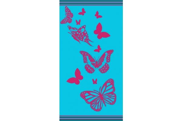 BIANCHERIAWEB Telo Mare Jacquard in Spugna Disegno Farfalla Degrade 90x170 Rainbow