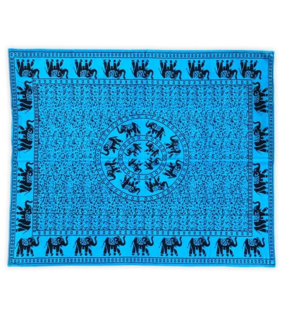 Telo Mare Matrimoniale Elefanti Azzurro 100% Cotone Asciugamano 2 Posti 140x165cm Telo Spiaggia