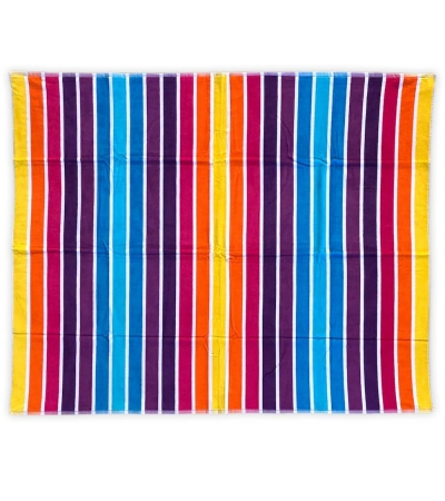 Telo Mare Matrimoniale Rigato Multy Color 100% Cotone Asciugamano 2 Posti 140x165cm Telo Spiaggia