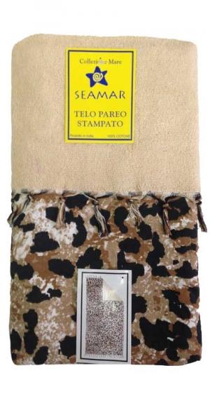 Telo mare Pareo Maculato Leopardato in cotone e spugna