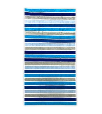 Telo Mare Rigato Multy Color Azzurro 86x165cm Telo in Spugna 100% Cotone Telo Spiaggia