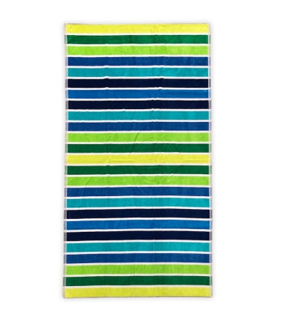 Telo Mare Rigato Multy Color Verde 86x165cm Telo in Spugna 100% Cotone Telo Spiaggia
