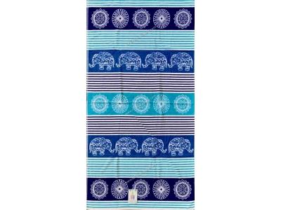 Telo Mare Righe Elephant Mosaic Azzurro