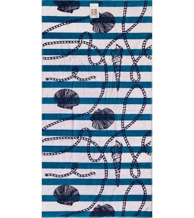 Telo Mare Rope Shell Azzurro