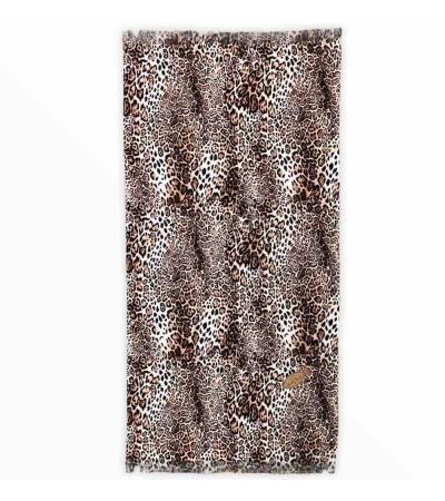 Telo Mare Stampato Leopard in Micro Spugna