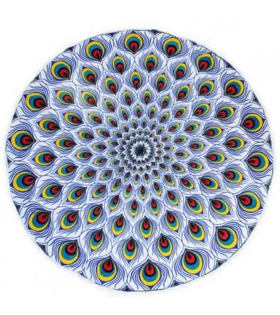 Telo Tondo Stampato Pavone Multicolor